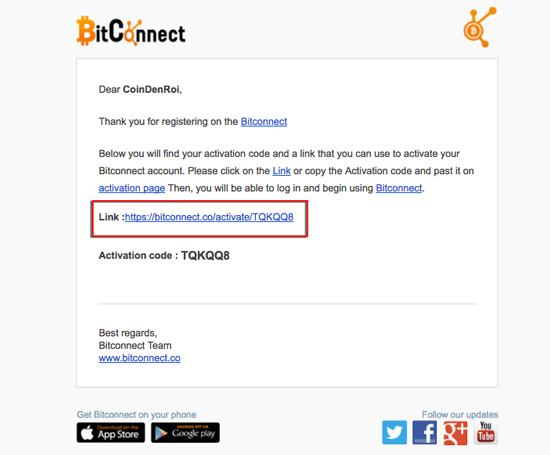 kích hoạt tai khoản bitconnect