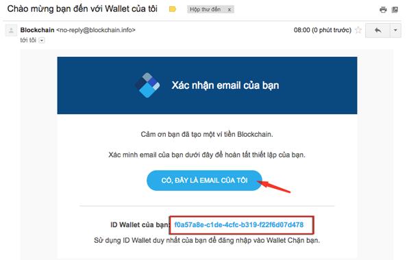xac nhận email khi tạo ví blockchain