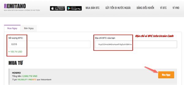 huong dan cach nap bitcoin de mua UCH